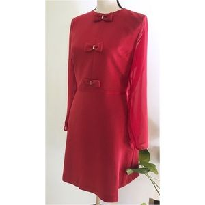 Maison Jules Dresses - NWT Maison Jules Bow Trim Chiffon Sleeve Red Dress